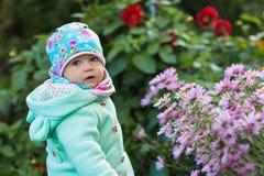 Niña pequeña agradable en flores rosadas en primavera Imágenes de archivo libres de regalías