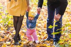 Niña pequeña que lleva a cabo las manos con su madre y padre afuera en un día de la caída Imágenes de archivo libres de regalías