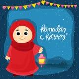 Niña que celebra a Ramadan Kareem Foto de archivo