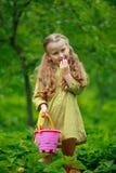 Niña que come una fresa Foto de archivo libre de regalías