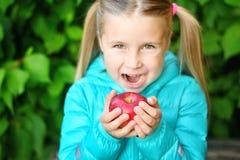 Niña que come una manzana en un banco de madera el día del otoño Foto de archivo