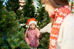 Niña que elige el árbol de navidad foto de archivo