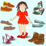 Niña que intenta en los zapatos grandes, ilustración del vector