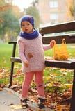 Niña que juega con las hojas de otoño en el parque Foto de archivo