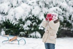 Niña que juega en las bolas de nieve de la nieve y del tiro Fotografía de archivo libre de regalías