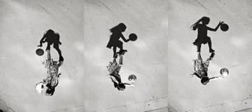 Niña que juega la sombra de la bola, sistema de imágenes Fotografía de archivo