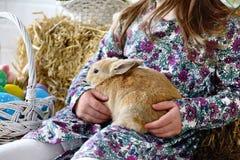 Niña que sostiene un conejo mullido con los huevos de Pascua Fotos de archivo
