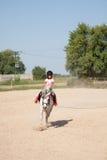 Niña que toma lecciones de montar a caballo de lomo de caballo fotografía de archivo libre de regalías