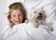 Niña rubia hermosa que ríe y que miente con el perro de perrito blanco del schnauzer en la cama blanca Concepto de la amistad foto de archivo libre de regalías