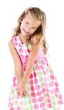 Niña sonriente adorable en el vestido de la princesa aislado Fotos de archivo libres de regalías