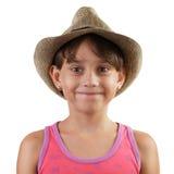 Niña sonriente en sombrero de paja Fotografía de archivo libre de regalías