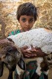niña y cordero Foto de archivo libre de regalías