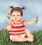 Niña y flores lindas, niño de la niña, muchacho, tarjeta de felicitación, ejemplo del niño del bebé de la postal, vida humana, cu imagen de archivo