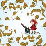 Niña y hojas de otoño ilustración del vector