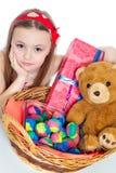 Niña y huevos de Pascua Imagen de archivo