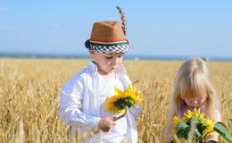 Niña y muchacho que examinan los girasoles amarillos Foto de archivo