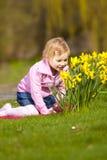 Niña y narcisos en parque. Fotos de archivo