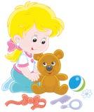 Niña y oso del peluche stock de ilustración