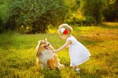 Niña y perro foto de archivo