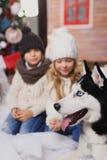 Niña y perro felices en la Navidad Imagen de archivo