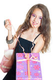 Niña y regalo Foto de archivo