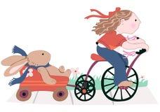 Niña y su mejor amigo ilustración del vector