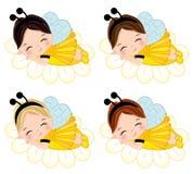Niñas lindas del vector vestidas en dormir del estilo de la abeja Fotos de archivo