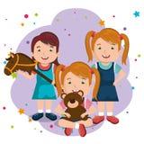 0efe98a4a Niñas que juegan con los caracteres de los juguetes libre illustration