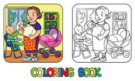 Niñera divertida con los niños Libro de colorante Fotografía de archivo