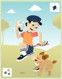 Niñez con mi perro stock de ilustración