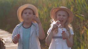 Niñez feliz, feliz niña linda con el muchacho del amigo en sombreros de paja soplar burbujas y reír en naturaleza metrajes