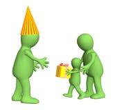 niño 3d, felicitando al papá con un día de fiesta Fotografía de archivo