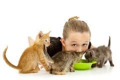 Niño adorable de la muchacha que comparte el tazón de fuente de la leche del gatito fotografía de archivo