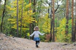 Niño adorable, pequeña niña pequeña rizada en el vestido azul que juega en el goce hermoso del bosque de madera de pino Imágenes de archivo libres de regalías