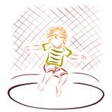 Niño alegre que salta en un trampolín, resto activo libre illustration