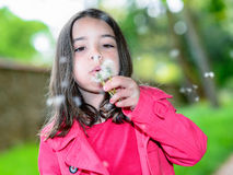 Niño alegre que sopla en una flor que se coloca en un parque Foto de archivo
