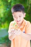 Niño asiático que sostiene la planta joven del almácigo en manos, en jardín, encendido Imagen de archivo libre de regalías