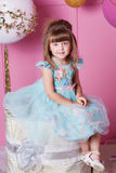 Niño bonito de la muchacha 4 años en un vestido azul El bebé en sitio de cuarzo de Rose adornó día de fiesta Imagen de archivo