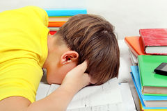 Niño cansado y preparación Fotografía de archivo
