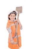 Niño como trabajador de construcción aislado en blanco Fotos de archivo libres de regalías