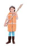 Niño como trabajador de construcción aislado en blanco Imagen de archivo libre de regalías