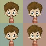 Niño con diversas emociones Fotos de archivo libres de regalías