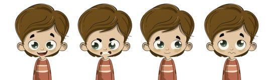 Niño con diversas expresiones faciales Imagen de archivo libre de regalías