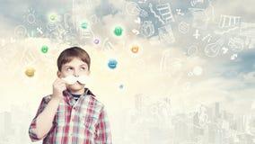 Niño con el bigote Fotografía de archivo libre de regalías