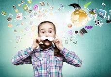 Niño con el bigote Imagen de archivo libre de regalías