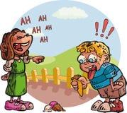 Niño con el cono de helado Stock de ilustración