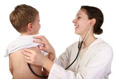 Niño con el doctor Fotografía de archivo