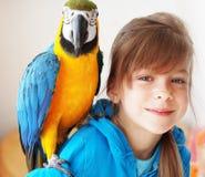 Niño con el loro del ara Fotografía de archivo