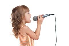 Niño con el micrófono Fotografía de archivo libre de regalías