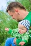 Niño con el padre Foto de archivo libre de regalías